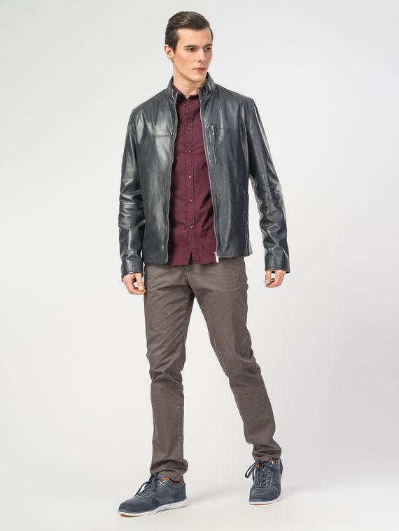 Кожаная куртка кожа , цвет темно-синий, арт. 26106159  - цена 11990 руб.  - магазин TOTOGROUP