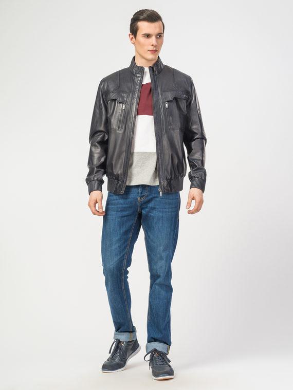 Кожаная куртка кожа , цвет темно-синий, арт. 26106193  - цена 11990 руб.  - магазин TOTOGROUP