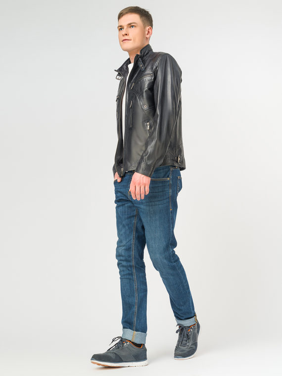 Кожаная куртка кожа, цвет темно-синий, арт. 26106201  - цена 7990 руб.  - магазин TOTOGROUP