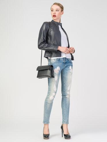 Кожаная куртка кожа, цвет темно-синий, арт. 26106247  - цена 5290 руб.  - магазин TOTOGROUP