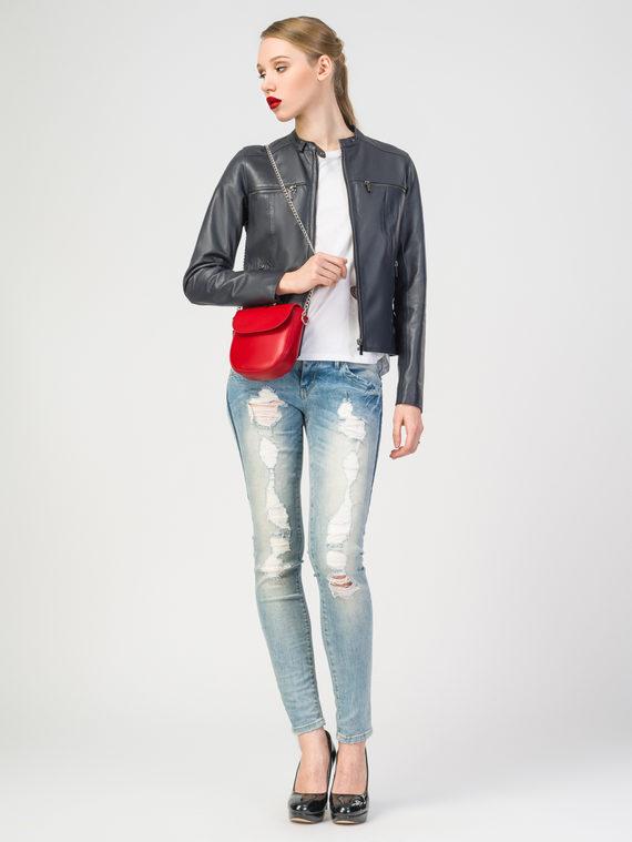 Кожаная куртка кожа , цвет темно-синий, арт. 26106250  - цена 9490 руб.  - магазин TOTOGROUP