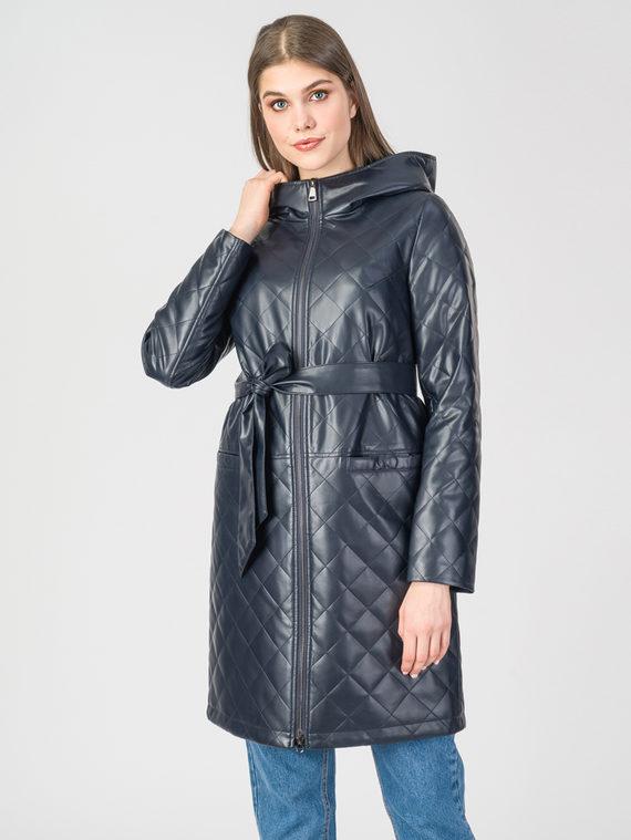Кожаное пальто эко-кожа 100% П/А, цвет темно-синий, арт. 26108088  - цена 6990 руб.  - магазин TOTOGROUP