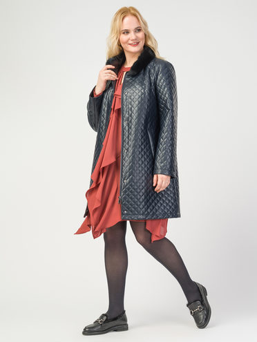 Кожаное пальто эко-кожа 100% П/А, цвет темно-синий, арт. 26108089  - цена 5290 руб.  - магазин TOTOGROUP