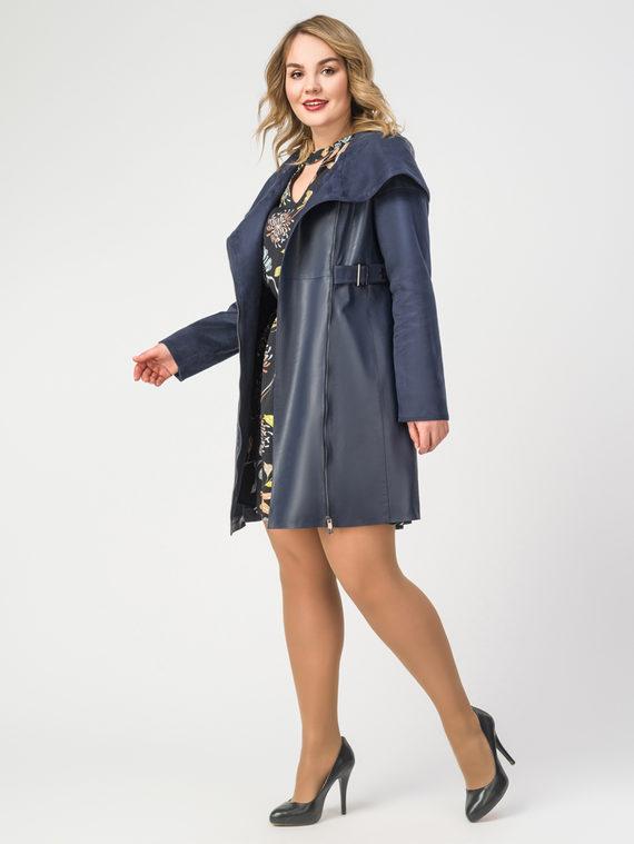 Кожаное пальто эко-кожа 100% П/А, цвет темно-синий, арт. 26108120  - цена 8490 руб.  - магазин TOTOGROUP