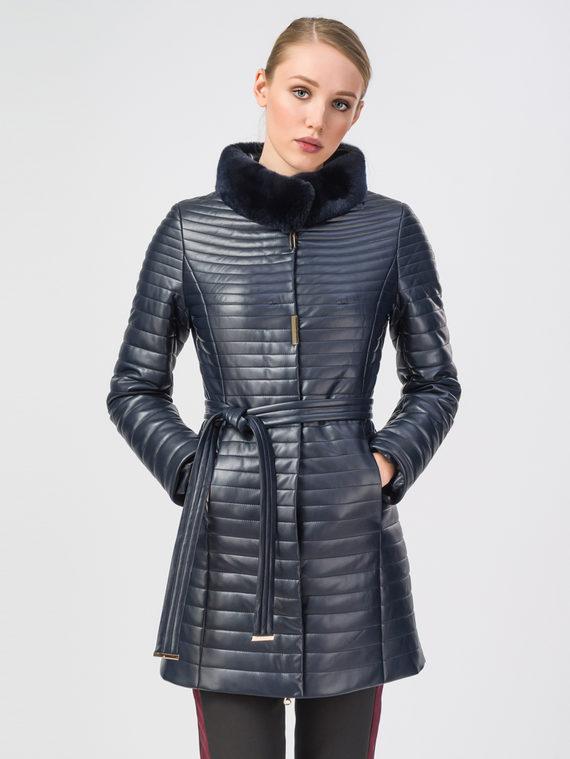 Кожаное пальто эко-кожа 100% П/А, цвет темно-синий, арт. 26108151  - цена 8490 руб.  - магазин TOTOGROUP