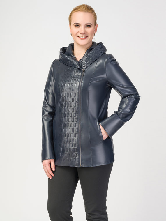 Кожаная куртка эко-кожа 100% П/А, цвет темно-синий, арт. 26108161  - цена 4990 руб.  - магазин TOTOGROUP