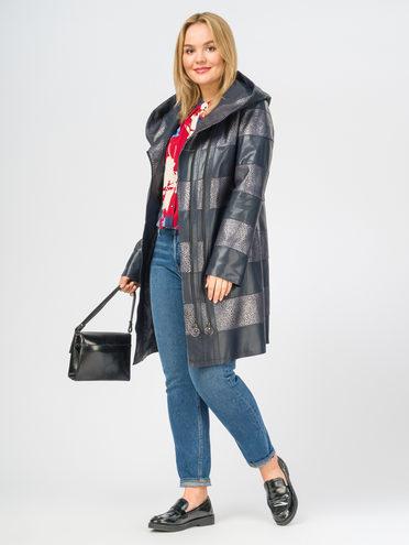 Кожаное пальто эко-кожа 100% П/А, цвет темно-синий, арт. 26108169  - цена 6290 руб.  - магазин TOTOGROUP