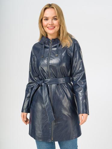 Кожаное пальто эко-кожа 100% П/А, цвет темно-синий, арт. 26108170  - цена 7490 руб.  - магазин TOTOGROUP