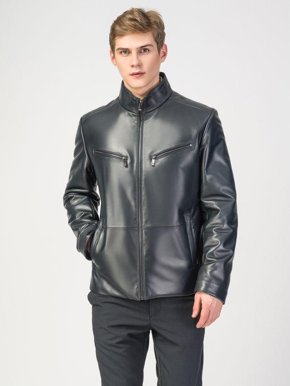 Кожаная куртка кожа , цвет темно-синий, арт. 26108238  - цена 11990 руб.  - магазин TOTOGROUP