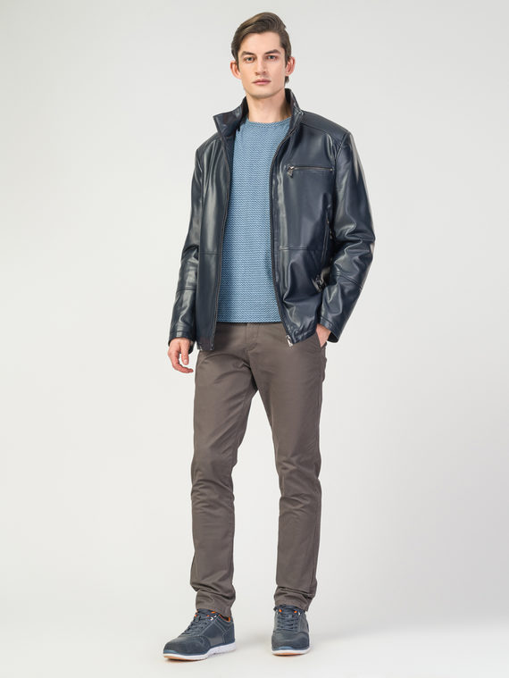 Кожаная куртка эко-кожа 100% П/А, цвет темно-синий, арт. 26108241  - цена 6290 руб.  - магазин TOTOGROUP
