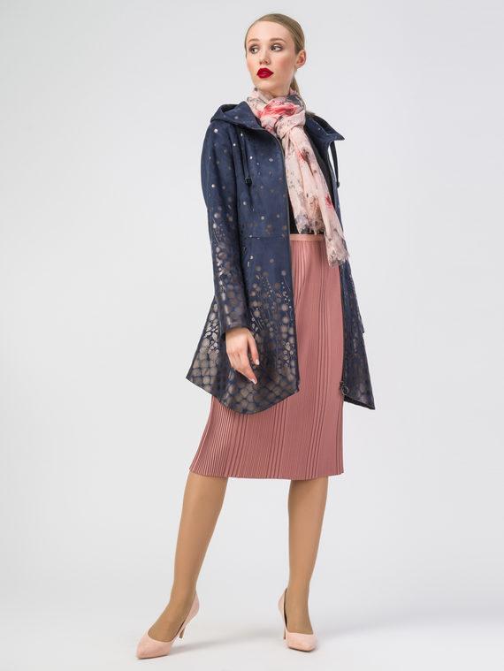 Кожаное пальто эко-замша 100% П/А, цвет темно-синий, арт. 26108273  - цена 8990 руб.  - магазин TOTOGROUP