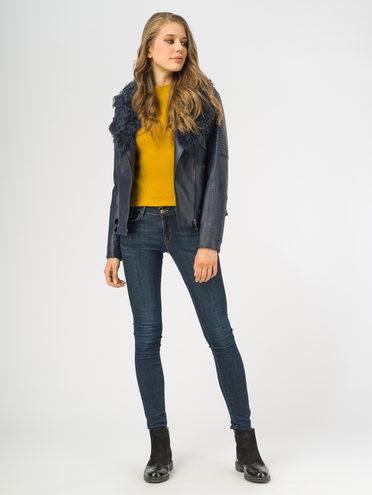 Кожаная куртка эко-кожа 100% П/А, цвет темно-синий, арт. 26108572  - цена 9490 руб.  - магазин TOTOGROUP