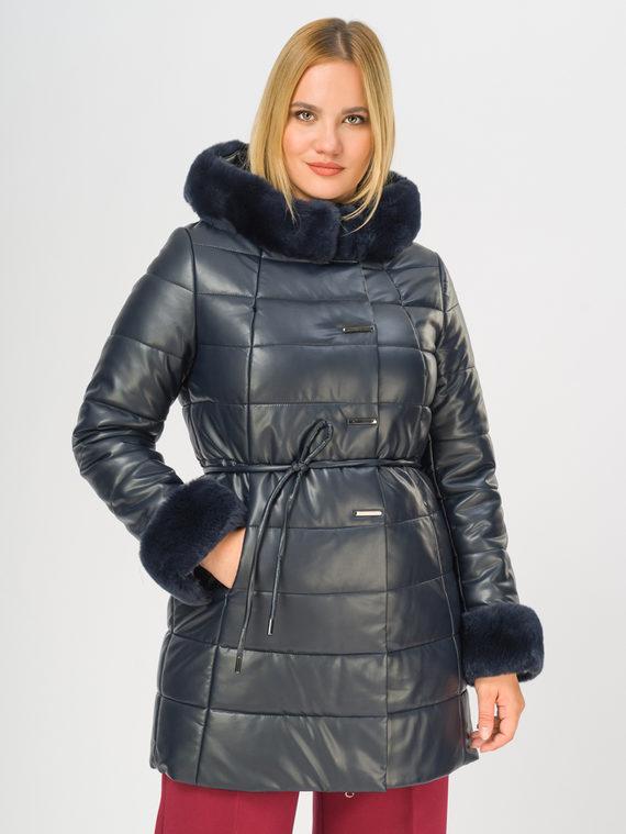 Кожаное пальто эко-кожа 100% П/А, цвет темно-синий, арт. 26108575  - цена 12690 руб.  - магазин TOTOGROUP