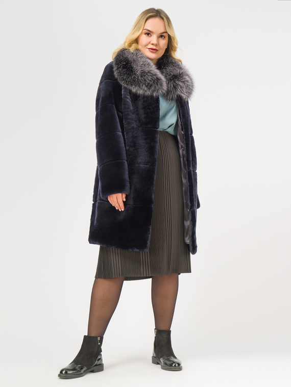 Шуба из мутона мех мутон, цвет темно-синий, арт. 26108658  - цена 26990 руб.  - магазин TOTOGROUP