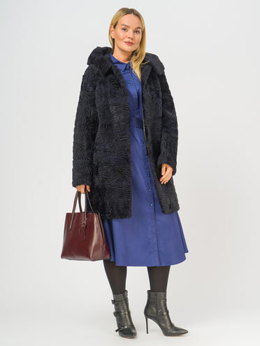 Шуба из мутона мех овчина крашен., цвет темно-синий, арт. 26108660  - цена 9990 руб.  - магазин TOTOGROUP