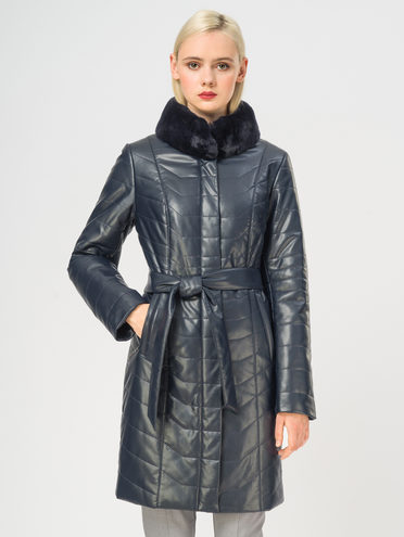 Кожаное пальто эко-кожа 100% П/А, цвет темно-синий, арт. 26108837  - цена 11290 руб.  - магазин TOTOGROUP