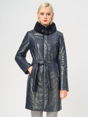 Кожаное пальто эко-кожа 100% П/А, цвет темно-синий, арт. 26108837  - цена 11990 руб.  - магазин TOTOGROUP