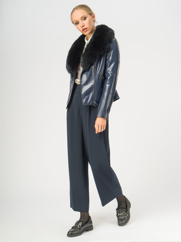 Кожаная куртка эко-кожа корова, цвет темно-синий, арт. 26108840  - цена 8990 руб.  - магазин TOTOGROUP