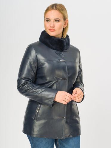 Кожаная куртка эко-кожа 100% П/А, цвет темно-синий, арт. 26108842  - цена 11290 руб.  - магазин TOTOGROUP