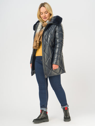 Кожаная куртка эко-кожа 100% П/А, цвет темно-синий, арт. 26108848  - цена 7490 руб.  - магазин TOTOGROUP