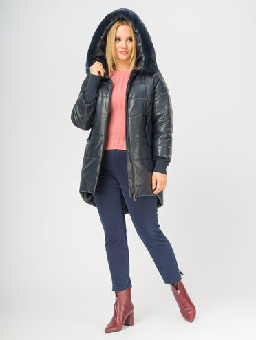 Кожаное пальто эко-кожа 100% П/А, цвет темно-синий, арт. 26109158  - цена 8490 руб.  - магазин TOTOGROUP