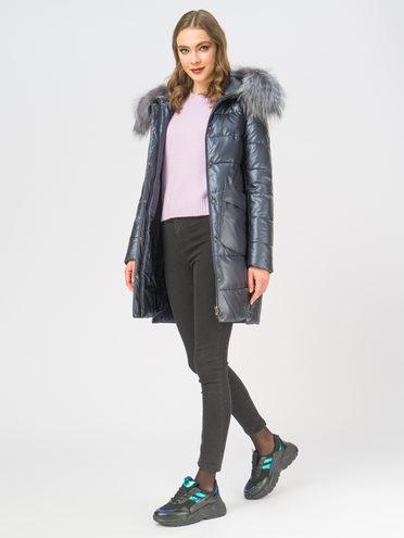 Кожаное пальто эко-кожа 100% П/А, цвет темно-синий, арт. 26109188  - цена 11290 руб.  - магазин TOTOGROUP