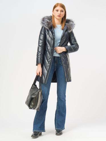 Кожаное пальто эко-кожа 100% П/А, цвет темно-синий, арт. 26109363  - цена 9990 руб.  - магазин TOTOGROUP