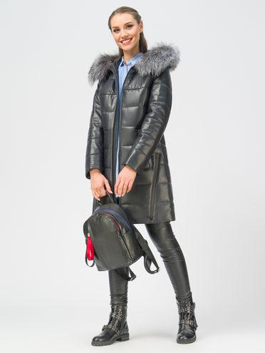 Кожаное пальто кожа, цвет темно-синий, арт. 26109364  - цена 16990 руб.  - магазин TOTOGROUP