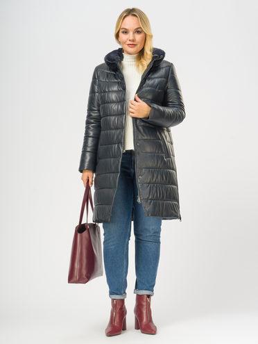 Кожаное пальто кожа, цвет темно-синий, арт. 26109365  - цена 19990 руб.  - магазин TOTOGROUP