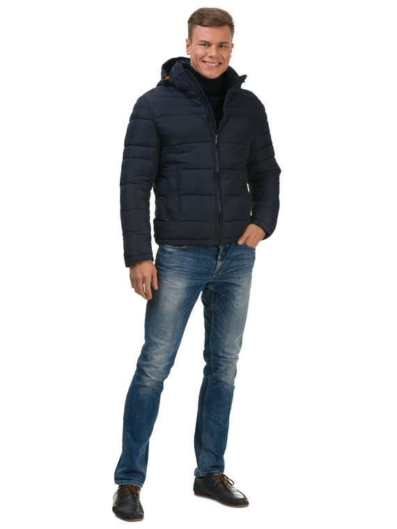 Пуховик текстиль, цвет темно-синий, арт. 26601907  - цена 2550 руб.  - магазин TOTOGROUP