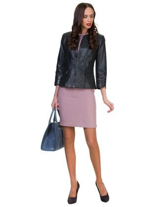 Кожаная куртка кожа овца, цвет темно-синий, арт. 26700042  - цена 14190 руб.  - магазин TOTOGROUP