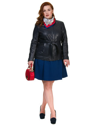 Кожаная куртка кожа овца, цвет темно-синий, арт. 26700106  - цена 10590 руб.  - магазин TOTOGROUP