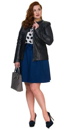 Кожаная куртка кожа овца, цвет темно-синий, арт. 26700110  - цена 12690 руб.  - магазин TOTOGROUP
