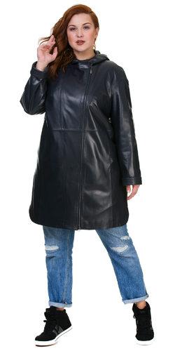 Кожаное пальто кожа баран, цвет темно-синий, арт. 26700171  - цена 16490 руб.  - магазин TOTOGROUP
