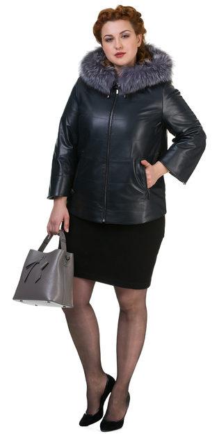 Кожаная куртка кожа овца, цвет темно-синий, арт. 26700520  - цена 17990 руб.  - магазин TOTOGROUP