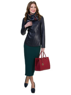 Кожаная куртка кожа овца, цвет темно-синий, арт. 26700521  - цена 15590 руб.  - магазин TOTOGROUP