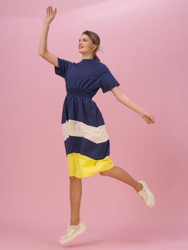 Женское платье 70% хлопок, 30% полиэстер, цвет темно-синий, арт. 26711708  - цена 1850 руб.  - магазин TOTOGROUP