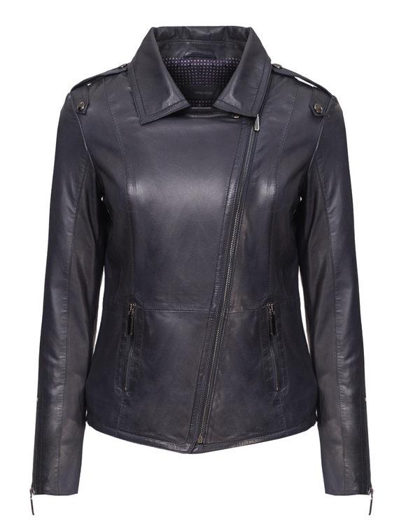 Кожаная куртка кожа, цвет темно-синий, арт. 26802458  - цена 9990 руб.  - магазин TOTOGROUP