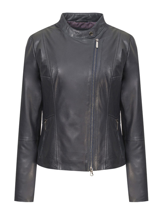 Кожаная куртка кожа, цвет темно-синий, арт. 26802473  - цена 9990 руб.  - магазин TOTOGROUP