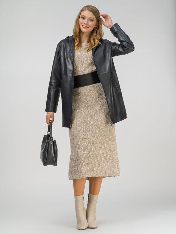 Кожаное пальто кожа, цвет темно-синий, арт. 26802497  - цена 13390 руб.  - магазин TOTOGROUP