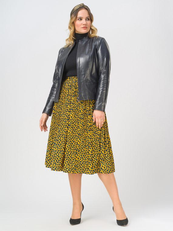 Кожаная куртка кожа, цвет темно-синий, арт. 26802505  - цена 13390 руб.  - магазин TOTOGROUP
