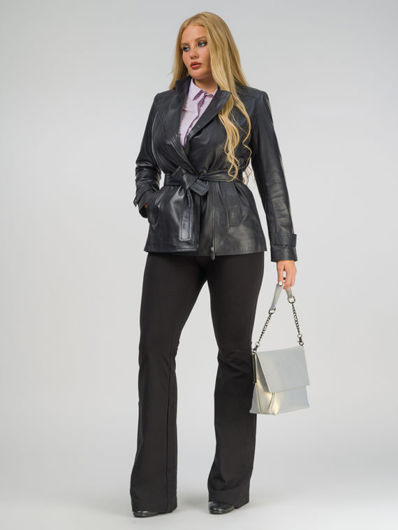 Кожаная куртка кожа, цвет темно-синий, арт. 26802509  - цена 14190 руб.  - магазин TOTOGROUP