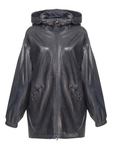 Кожаная куртка кожа, цвет темно-синий, арт. 26802510  - цена 11990 руб.  - магазин TOTOGROUP