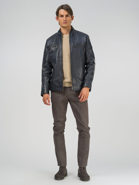 Кожаная куртка кожа, цвет темно-синий, арт. 26809231  - цена 13390 руб.  - магазин TOTOGROUP
