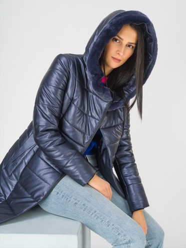 Кожаная куртка эко-кожа 100% П/А, цвет темно-синий, арт. 26810002  - цена 14190 руб.  - магазин TOTOGROUP