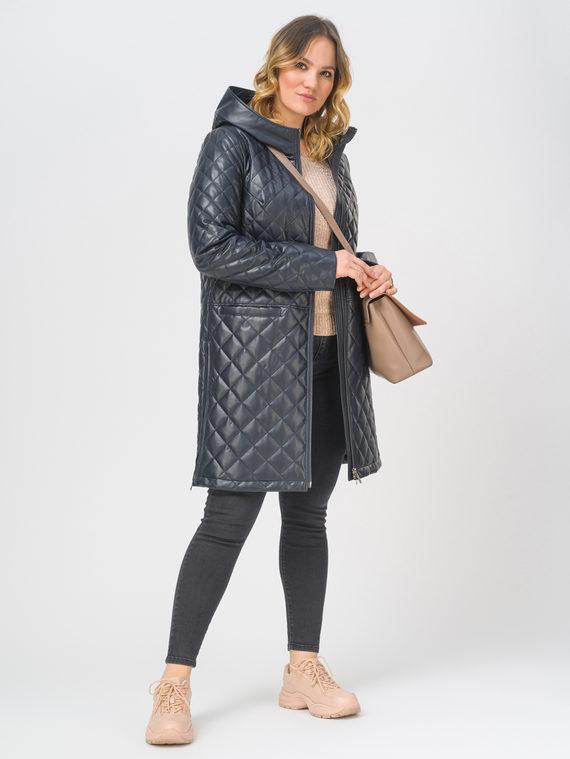Кожаное пальто эко-кожа 100% П/А, цвет темно-синий, арт. 26810039  - цена 8990 руб.  - магазин TOTOGROUP