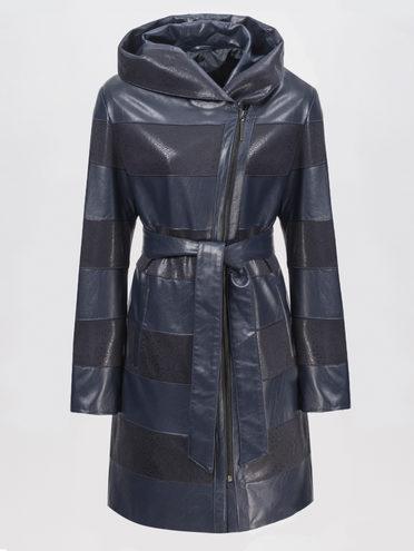 Кожаное пальто эко-кожа 100% П/А, цвет темно-синий, арт. 26810200  - цена 5890 руб.  - магазин TOTOGROUP
