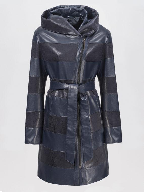 Кожаное пальто эко-кожа 100% П/А, цвет темно-синий, арт. 26810200  - цена 4740 руб.  - магазин TOTOGROUP