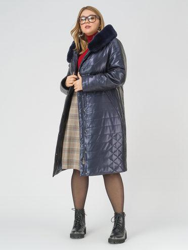 Кожаное пальто эко-кожа 100% П/А, цвет темно-синий, арт. 26810767  - цена 13390 руб.  - магазин TOTOGROUP