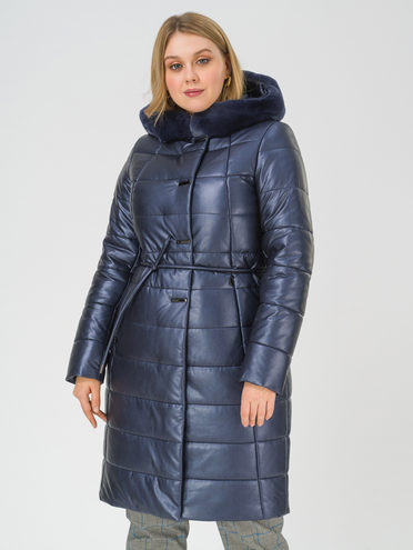 Кожаное пальто эко-кожа 100% П/А, цвет темно-синий, арт. 26810781  - цена 13390 руб.  - магазин TOTOGROUP